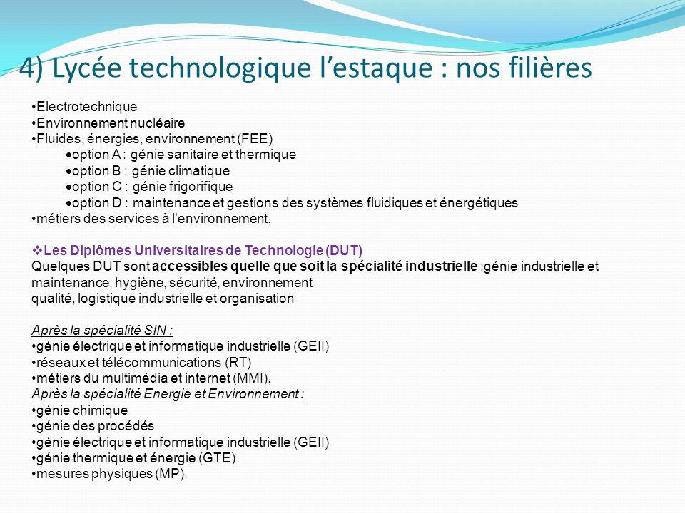 4) Lycée technologique lestaque : nos filières STI 2 D Electrotechnique Environnement nucléaire Fluides, énergies, environnement (FEE) option A : géni