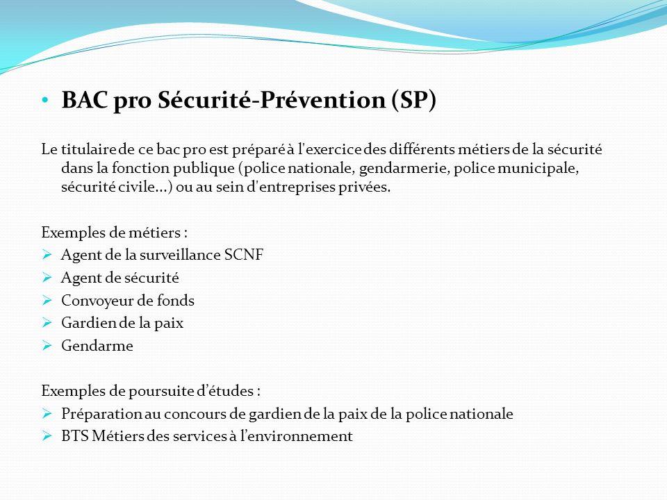 BAC pro Sécurité-Prévention (SP) Le titulaire de ce bac pro est préparé à l'exercice des différents métiers de la sécurité dans la fonction publique (