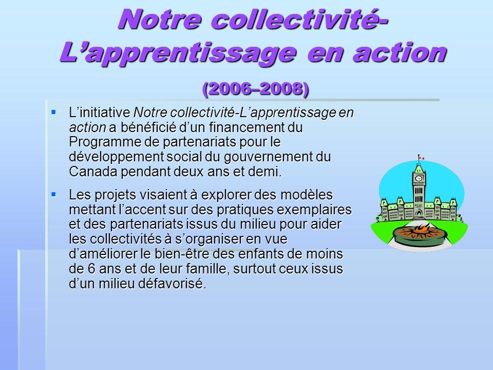 Notre collectivité- Lapprentissage en action (2006–2008) Linitiative Notre collectivité-Lapprentissage en action a bénéficié dun financement du Progra