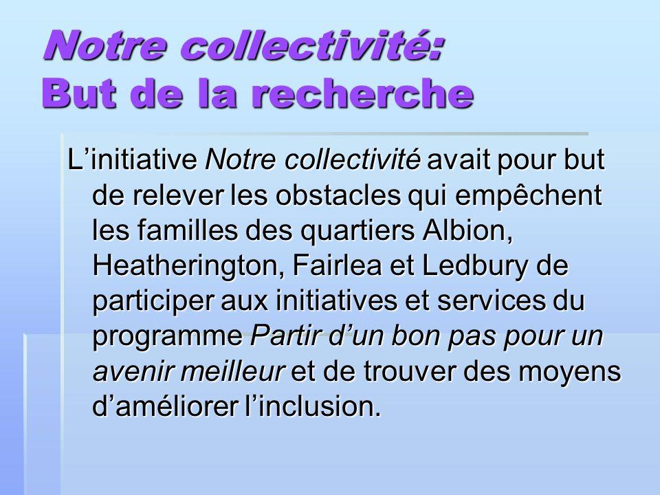 Notre collectivité: But de la recherche Linitiative Notre collectivité avait pour but de relever les obstacles qui empêchent les familles des quartier