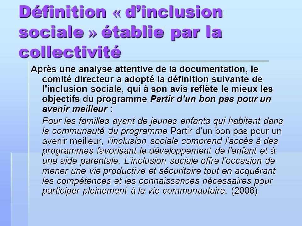 Définition « dinclusion sociale » établie par la collectivité Après une analyse attentive de la documentation, le comité directeur a adopté la définit
