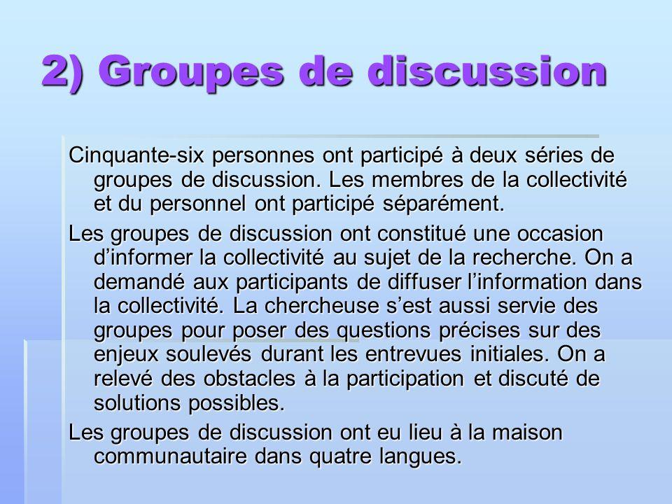 2) Groupes de discussion Cinquante-six personnes ont participé à deux séries de groupes de discussion. Les membres de la collectivité et du personnel