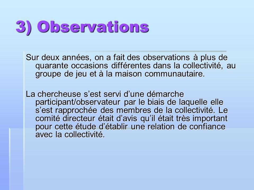 3) Observations Sur deux années, on a fait des observations à plus de quarante occasions différentes dans la collectivité, au groupe de jeu et à la maison communautaire.