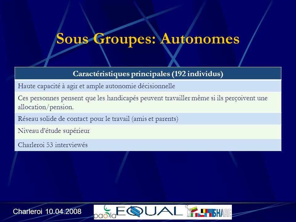 Sous Groupes: Autonomes Caractéristiques principales (192 individus) Haute capacité à agir et ample autonomie décisionnelle Ces personnes pensent que les handicapés peuvent travailler même si ils perçoivent une allocation/pension.