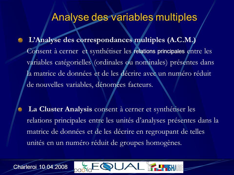 LAnalyse des correspondances multiples (A.C.M.) Consent à cerner et synthétiser les relations principales entre les variables catégorielles (ordinales ou nominales) présentes dans la matrice de données et de les décrire avec un numéro réduit de nouvelles variables, dénomées facteurs.
