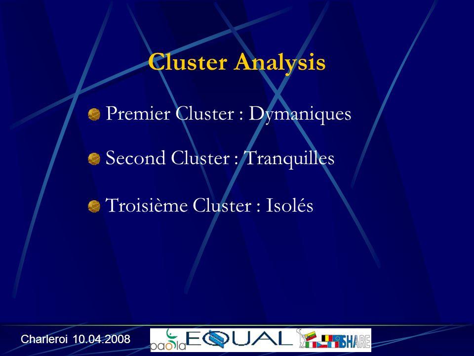 Cluster Analysis Premier Cluster : Dymaniques Second Cluster : Tranquilles Troisième Cluster : Isolés Charleroi 10.04.2008