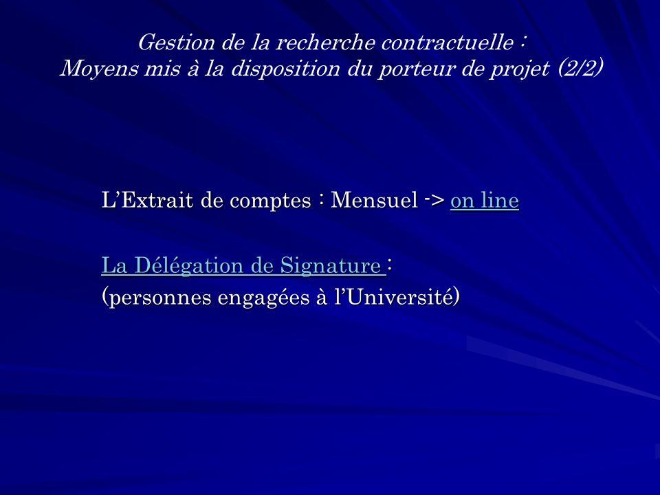 LExtrait de comptes : Mensuel -> on line on lineon line La Délégation de Signature La Délégation de Signature : La Délégation de Signature (personnes engagées à lUniversité) Gestion de la recherche contractuelle : Moyens mis à la disposition du porteur de projet (2/2)