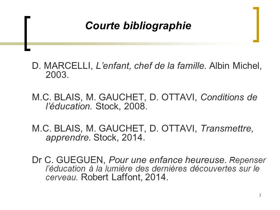 3 Courte bibliographie D. MARCELLI, Lenfant, chef de la famille. Albin Michel, 2003. M.C. BLAIS, M. GAUCHET, D. OTTAVI, Conditions de léducation. Stoc