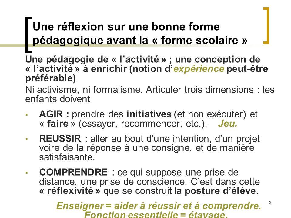 8 Une pédagogie de « lactivité » ; une conception de « lactivité » à enrichir (notion dexpérience peut-être préférable) Ni activisme, ni formalisme. A