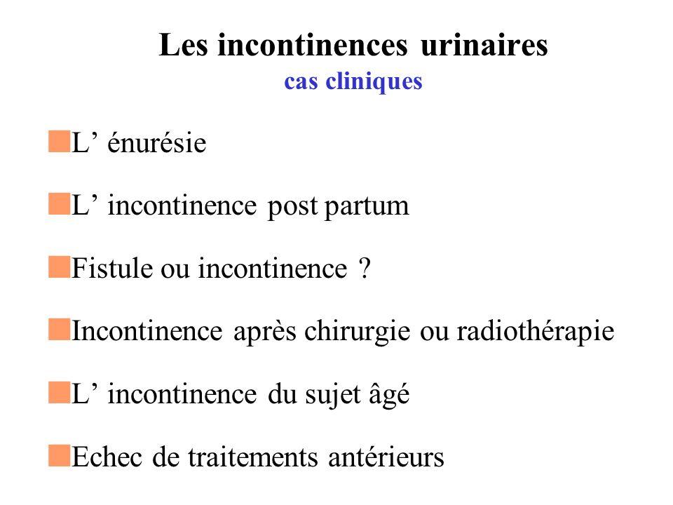 Les incontinences urinaires La physiologie vésico-sphinctérienne Les différents mécanismes à l origine des incontinences Les alternatives thérapeutiques Quelques cas cliniques 2 vidéos bandelette type TVT sphincter artificiel