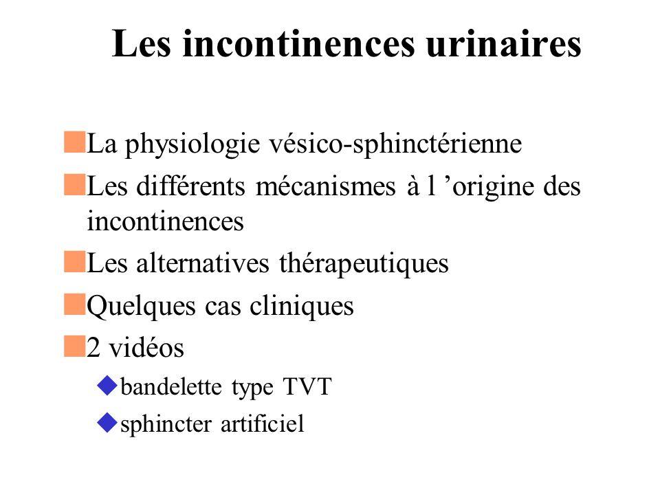 La continence urinaire Vessie de bonne capacité Bon système sphinctérien Synergie vésico-sphinctérienne Plancher périnéal de bonne qualité Equilibre fragile entre Rétention et incontinence