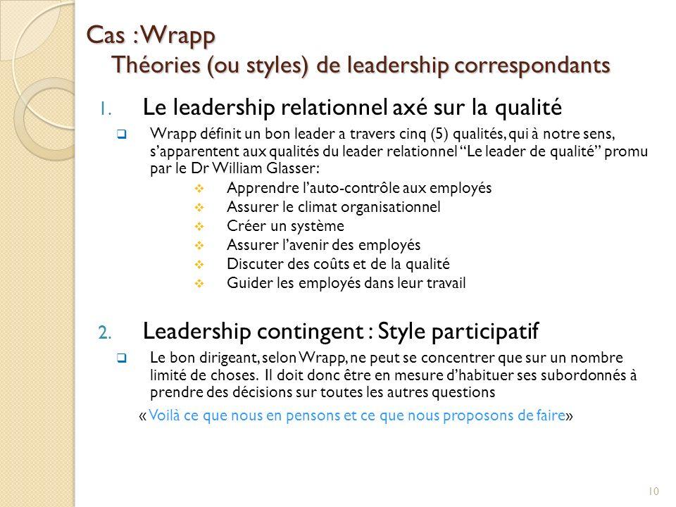 Cas : Wrapp Théories (ou styles) de leadership correspondants 1. Le leadership relationnel axé sur la qualité Wrapp définit un bon leader a travers ci