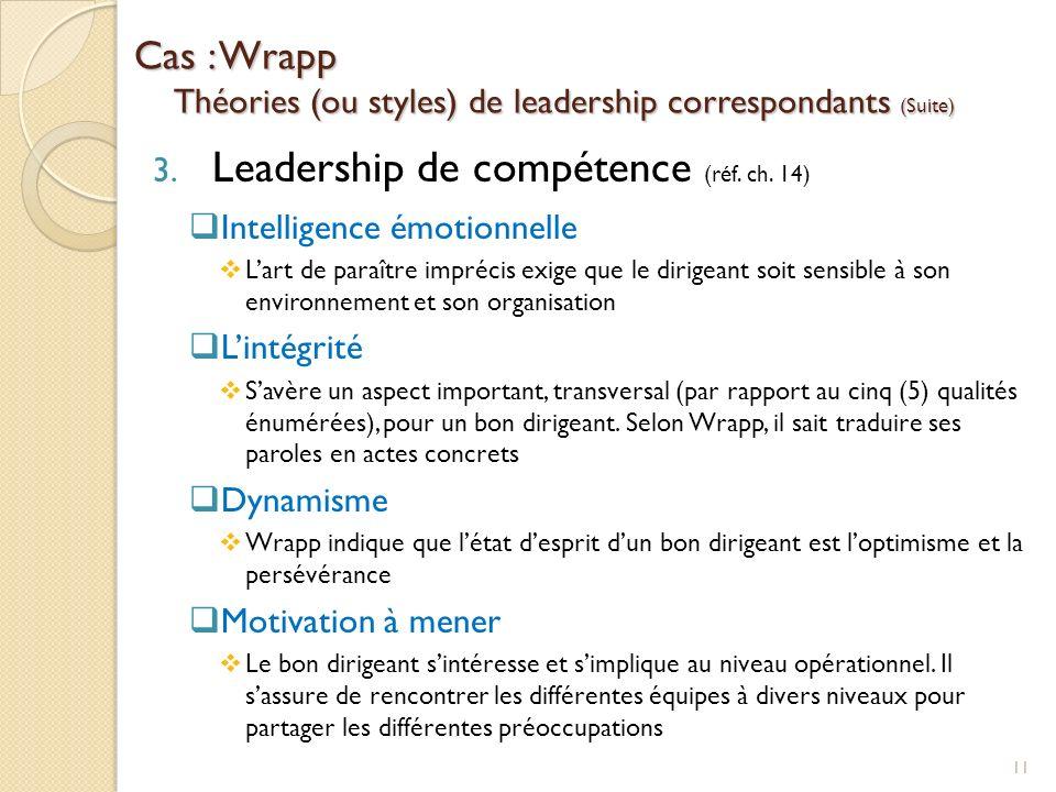 Cas : Wrapp Théories (ou styles) de leadership correspondants (Suite) 3. Leadership de compétence (réf. ch. 14) Intelligence émotionnelle Lart de para