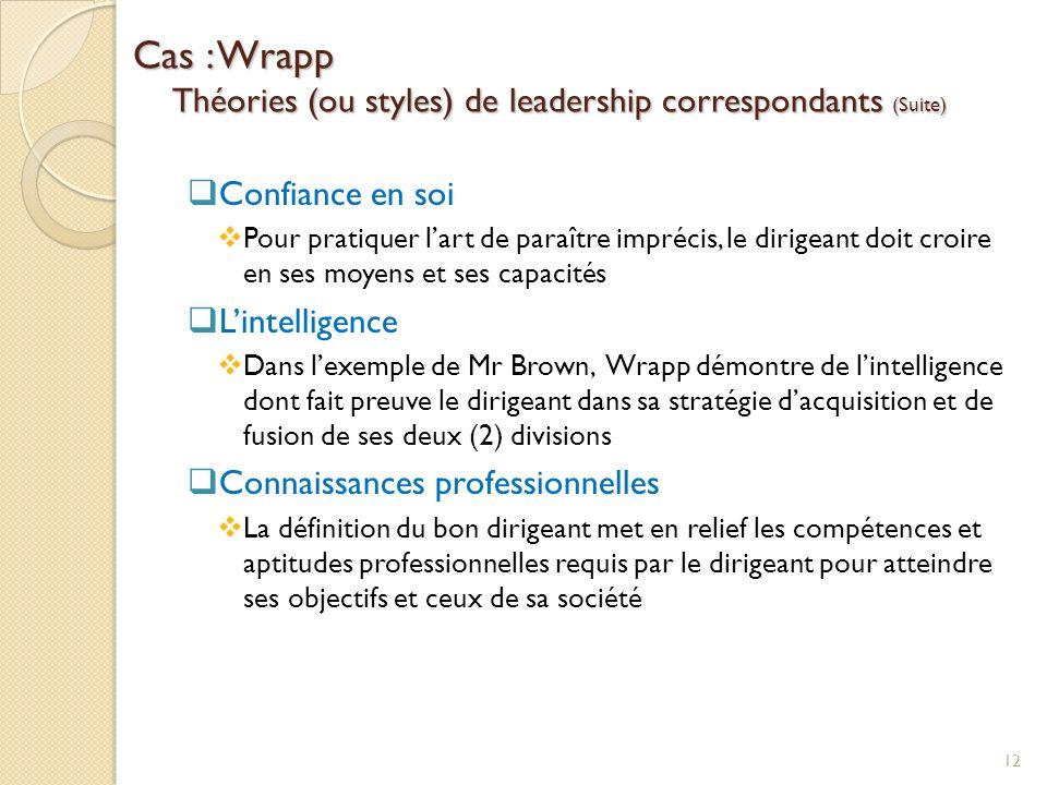 Cas : Wrapp Théories (ou styles) de leadership correspondants (Suite) Confiance en soi Pour pratiquer lart de paraître imprécis, le dirigeant doit cro