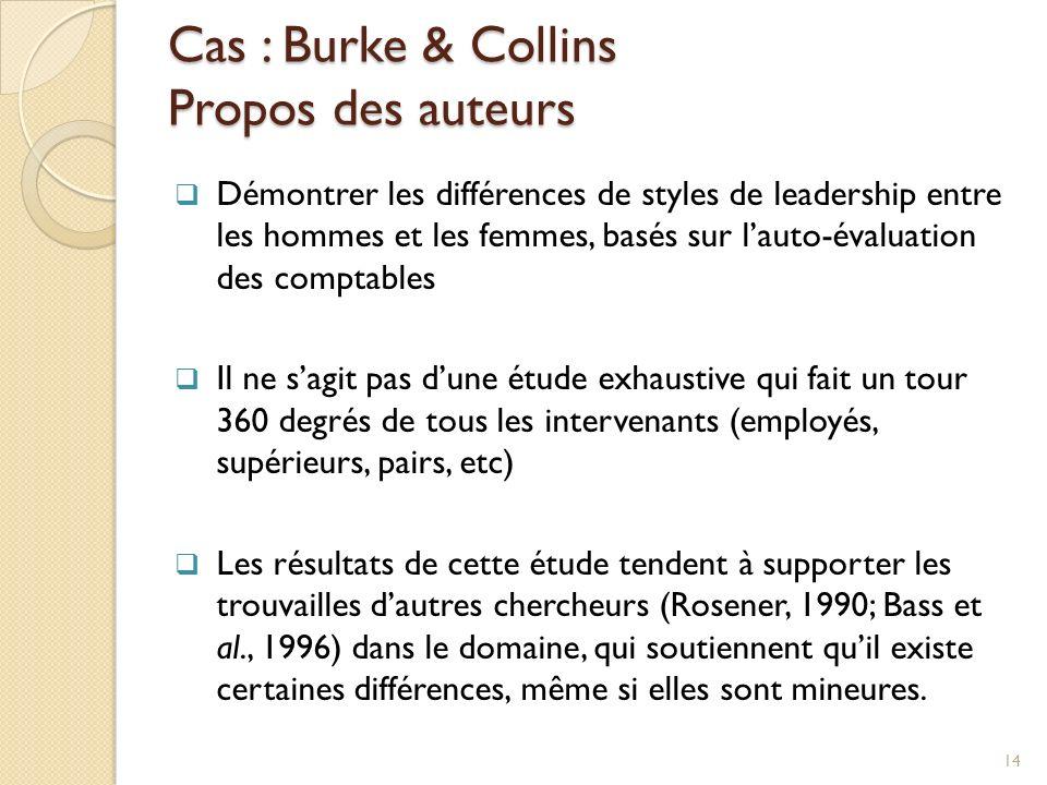 Cas : Burke & Collins Propos des auteurs Démontrer les différences de styles de leadership entre les hommes et les femmes, basés sur lauto-évaluation des comptables Il ne sagit pas dune étude exhaustive qui fait un tour 360 degrés de tous les intervenants (employés, supérieurs, pairs, etc) Les résultats de cette étude tendent à supporter les trouvailles dautres chercheurs (Rosener, 1990; Bass et al., 1996) dans le domaine, qui soutiennent quil existe certaines différences, même si elles sont mineures.