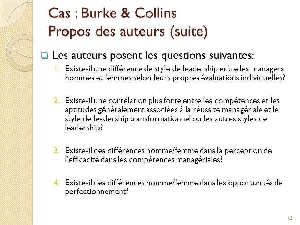 Cas : Burke & Collins Propos des auteurs (suite) Les auteurs posent les questions suivantes: 1.Existe-il une différence de style de leadership entre les managers hommes et femmes selon leurs propres évaluations individuelles.