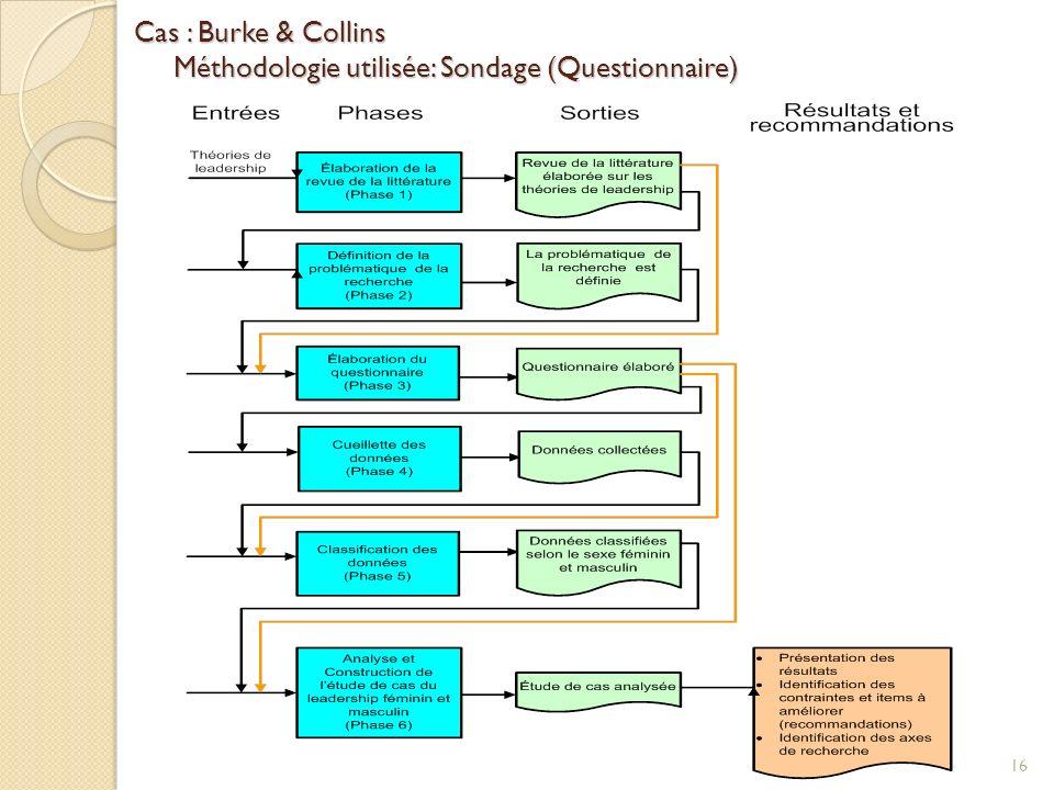 Cas : Burke & Collins Méthodologie utilisée: Sondage (Questionnaire) 16