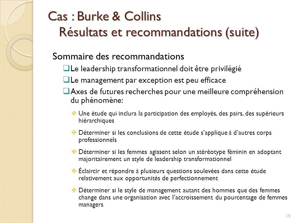 Cas : Burke & Collins Résultats et recommandations (suite) Sommaire des recommandations Le leadership transformationnel doit être privilégié Le manage