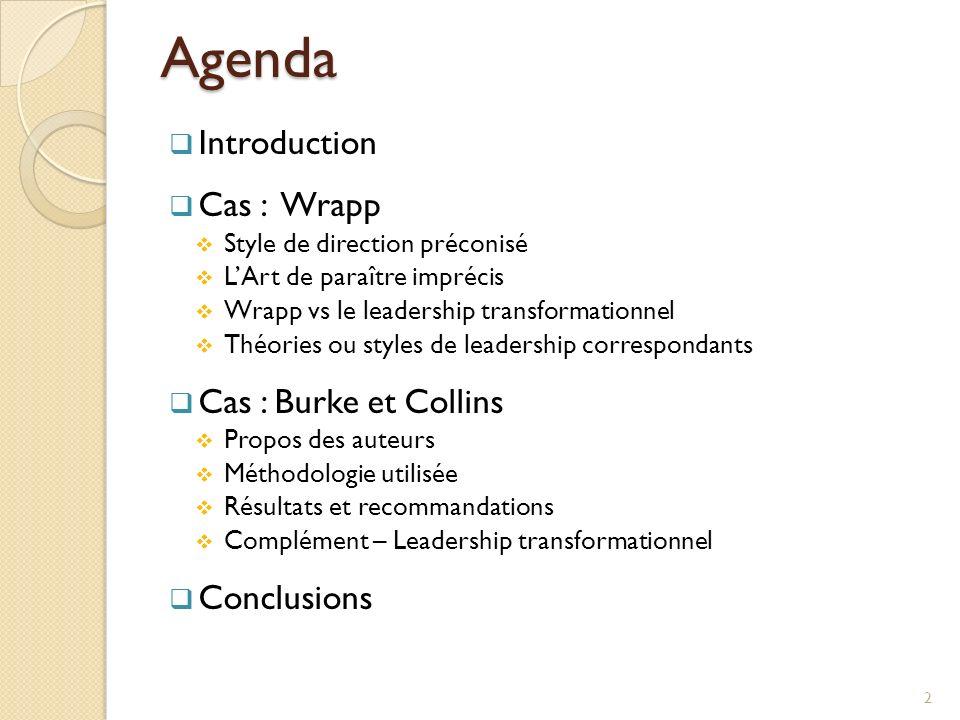 Agenda Introduction Cas : Wrapp Style de direction préconisé LArt de paraître imprécis Wrapp vs le leadership transformationnel Théories ou styles de