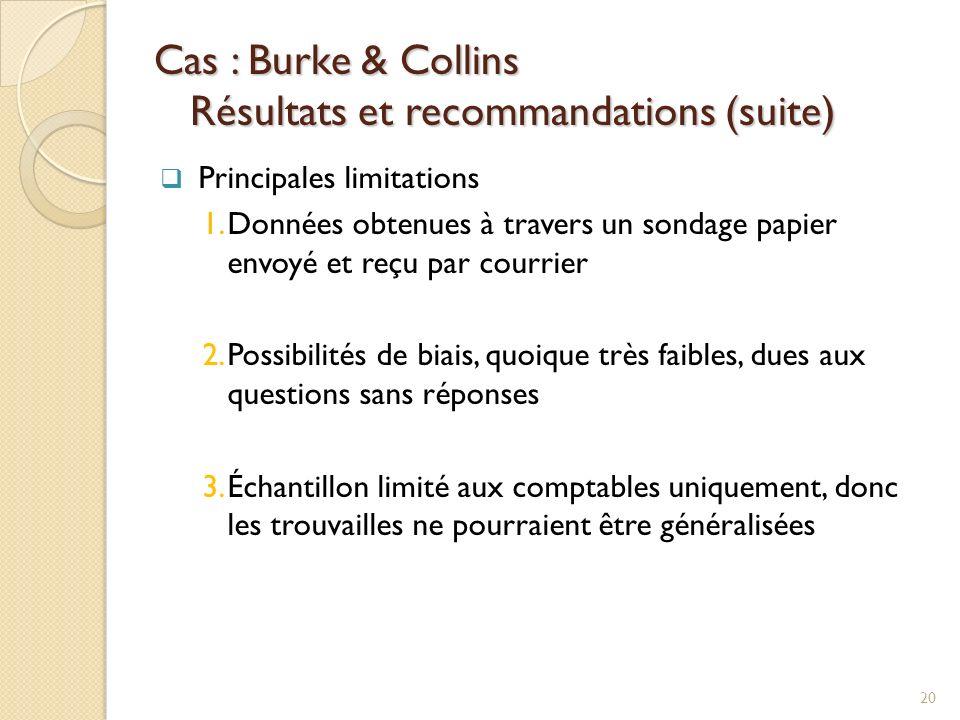 Cas : Burke & Collins Résultats et recommandations (suite) Principales limitations 1.Données obtenues à travers un sondage papier envoyé et reçu par courrier 2.Possibilités de biais, quoique très faibles, dues aux questions sans réponses 3.Échantillon limité aux comptables uniquement, donc les trouvailles ne pourraient être généralisées 20