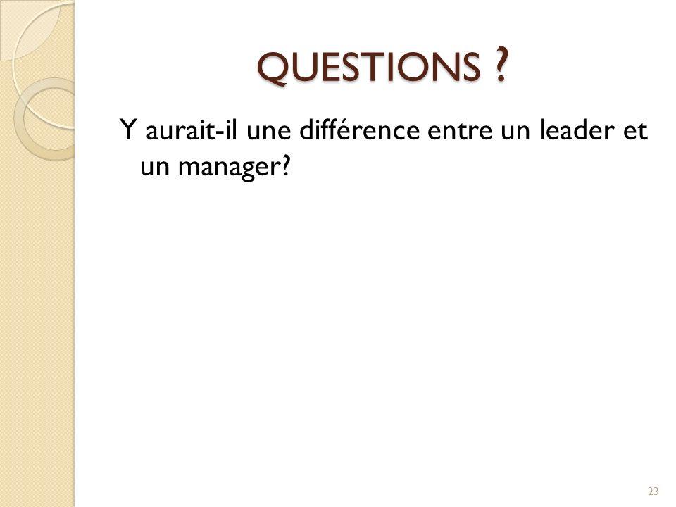 QUESTIONS ? Y aurait-il une différence entre un leader et un manager? 23