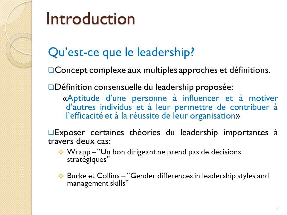 Introduction Quest-ce que le leadership? Concept complexe aux multiples approches et définitions. Définition consensuelle du leadership proposée: «Apt