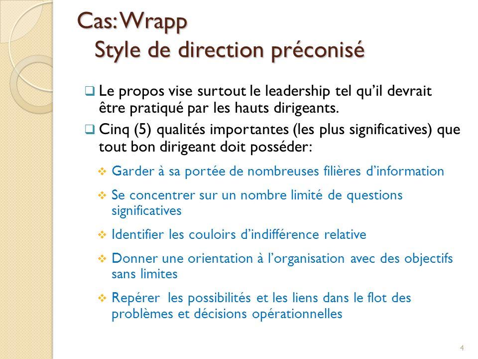 Cas: Wrapp Style de direction préconisé Le propos vise surtout le leadership tel quil devrait être pratiqué par les hauts dirigeants. Cinq (5) qualité