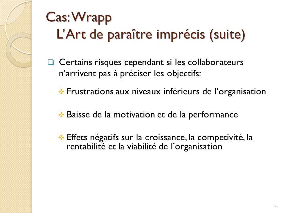Cas: Wrapp LArt de paraître imprécis (suite) Certains risques cependant si les collaborateurs narrivent pas à préciser les objectifs: Frustrations aux