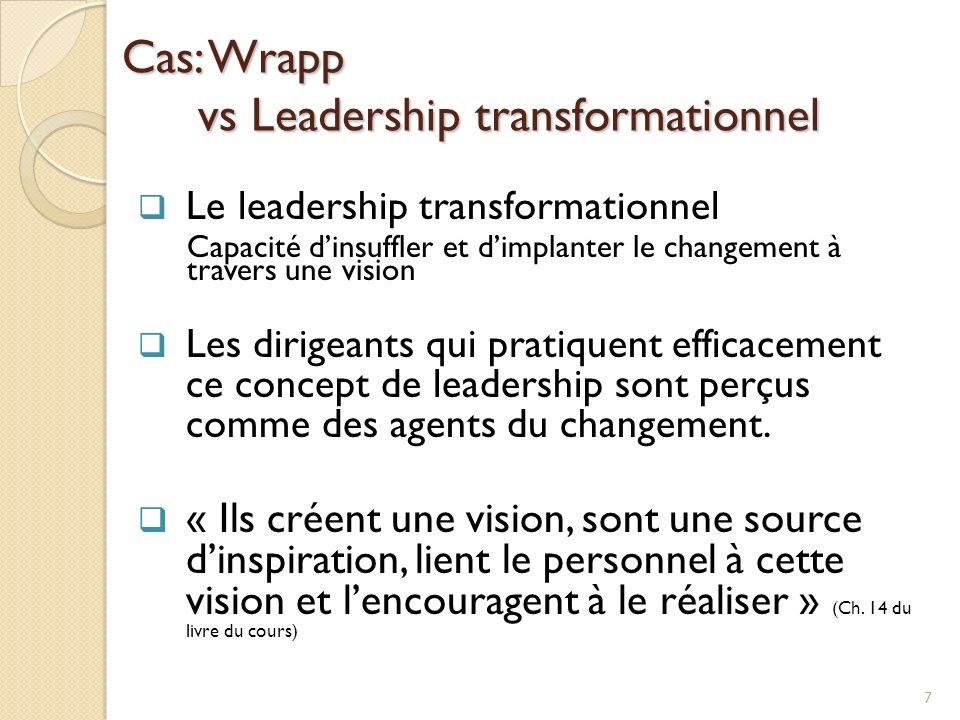 Cas: Wrapp vs Leadership transformationnel Le leadership transformationnel Capacité dinsuffler et dimplanter le changement à travers une vision Les dirigeants qui pratiquent efficacement ce concept de leadership sont perçus comme des agents du changement.