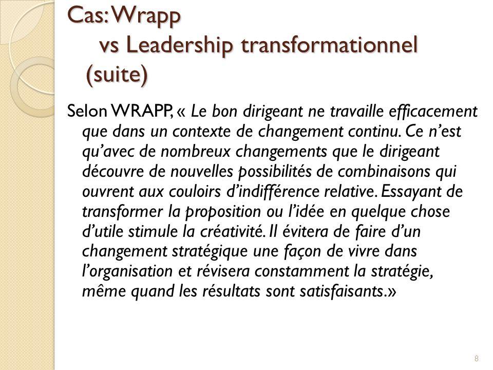 Cas: Wrapp vs Leadership transformationnel (suite) Selon WRAPP, « Le bon dirigeant ne travaille efficacement que dans un contexte de changement contin