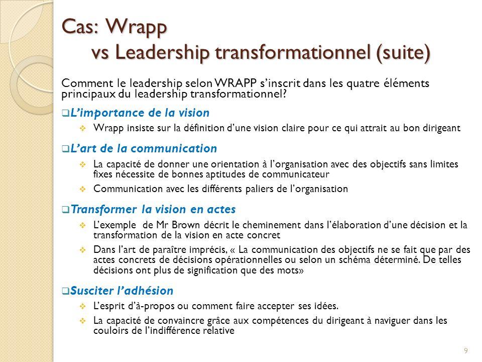 Cas: Wrapp vs Leadership transformationnel (suite) Comment le leadership selon WRAPP sinscrit dans les quatre éléments principaux du leadership transformationnel.