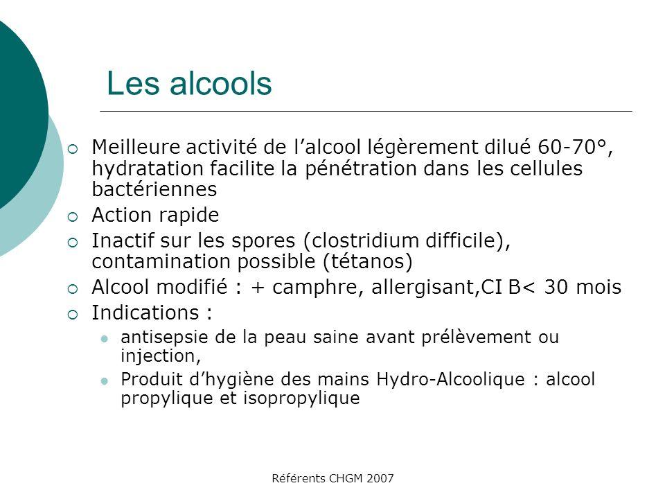 Référents CHGM 2007 Les alcools Meilleure activité de lalcool légèrement dilué 60-70°, hydratation facilite la pénétration dans les cellules bactérien