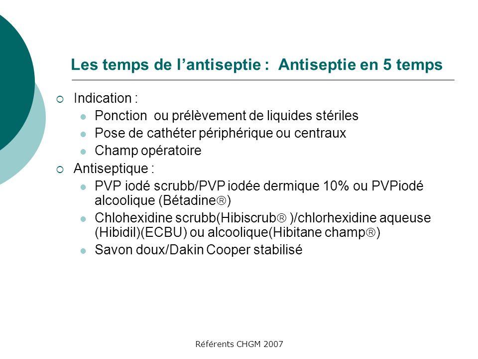 Référents CHGM 2007 Les temps de lantiseptie : Antiseptie en 5 temps Indication : Ponction ou prélèvement de liquides stériles Pose de cathéter périphérique ou centraux Champ opératoire Antiseptique : PVP iodé scrubb/PVP iodée dermique 10% ou PVPiodé alcoolique (Bétadine ) Chlohexidine scrubb(Hibiscrub )/chlorhexidine aqueuse (Hibidil)(ECBU) ou alcoolique(Hibitane champ ) Savon doux/Dakin Cooper stabilisé