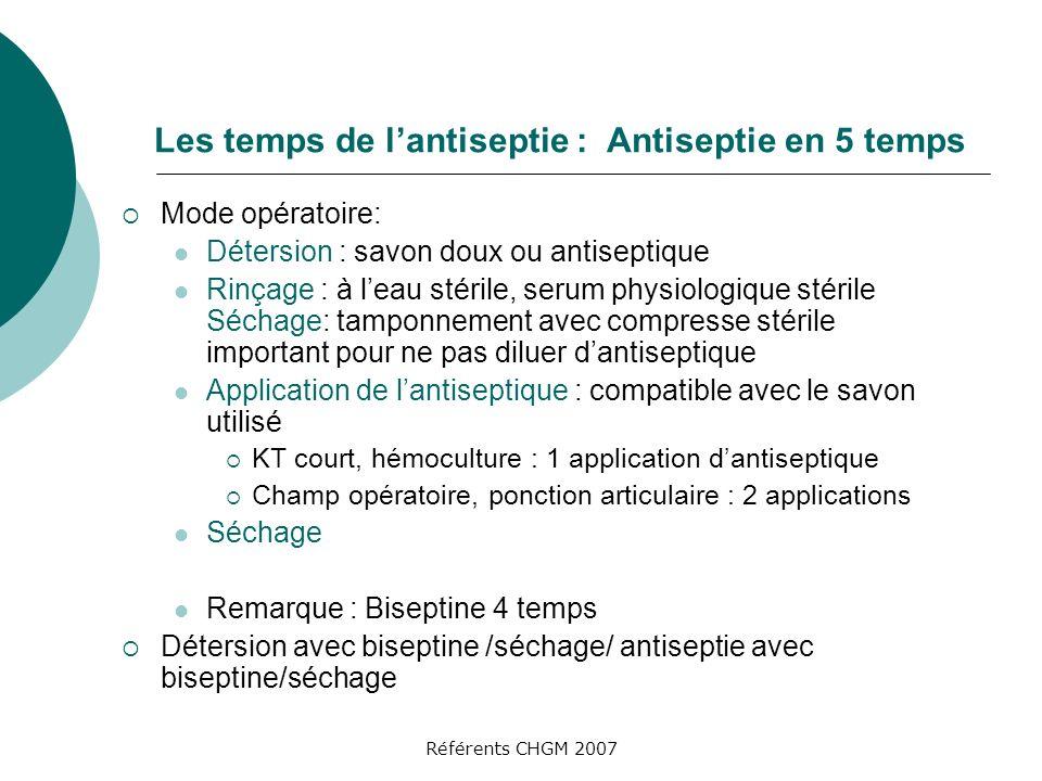 Référents CHGM 2007 Les temps de lantiseptie : Antiseptie en 5 temps Mode opératoire: Détersion : savon doux ou antiseptique Rinçage : à leau stérile,