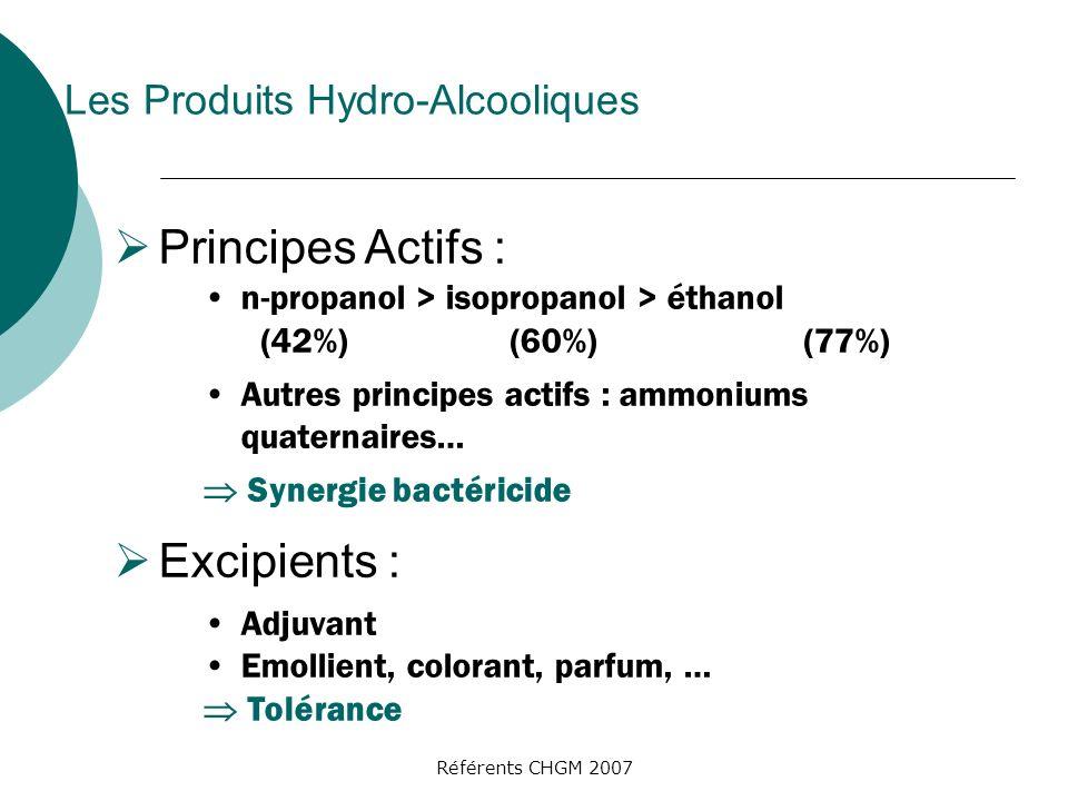 Référents CHGM 2007 Principes Actifs : n-propanol > isopropanol > éthanol (42%) (60%) (77%) Autres principes actifs : ammoniums quaternaires… Synergie bactéricide Excipients : Adjuvant Emollient, colorant, parfum, … Tolérance Les Produits Hydro-Alcooliques