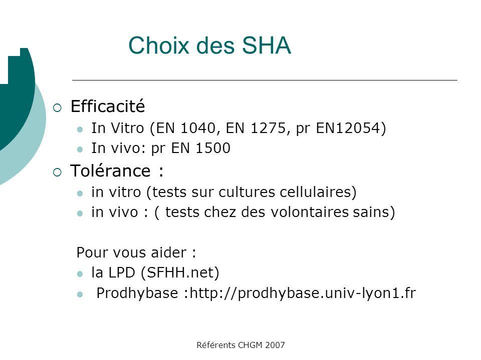 Choix des SHA Efficacité In Vitro (EN 1040, EN 1275, pr EN12054) In vivo: pr EN 1500 Tolérance : in vitro (tests sur cultures cellulaires) in vivo : ( tests chez des volontaires sains) Pour vous aider : la LPD (SFHH.net) Prodhybase :http://prodhybase.univ-lyon1.fr