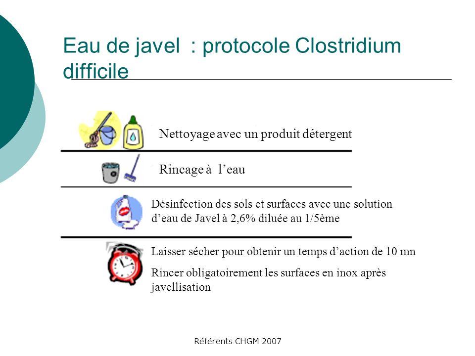Référents CHGM 2007 Eau de javel : protocole Clostridium difficile Nettoyage avec un produit détergent Rincage à leau Désinfection des sols et surface
