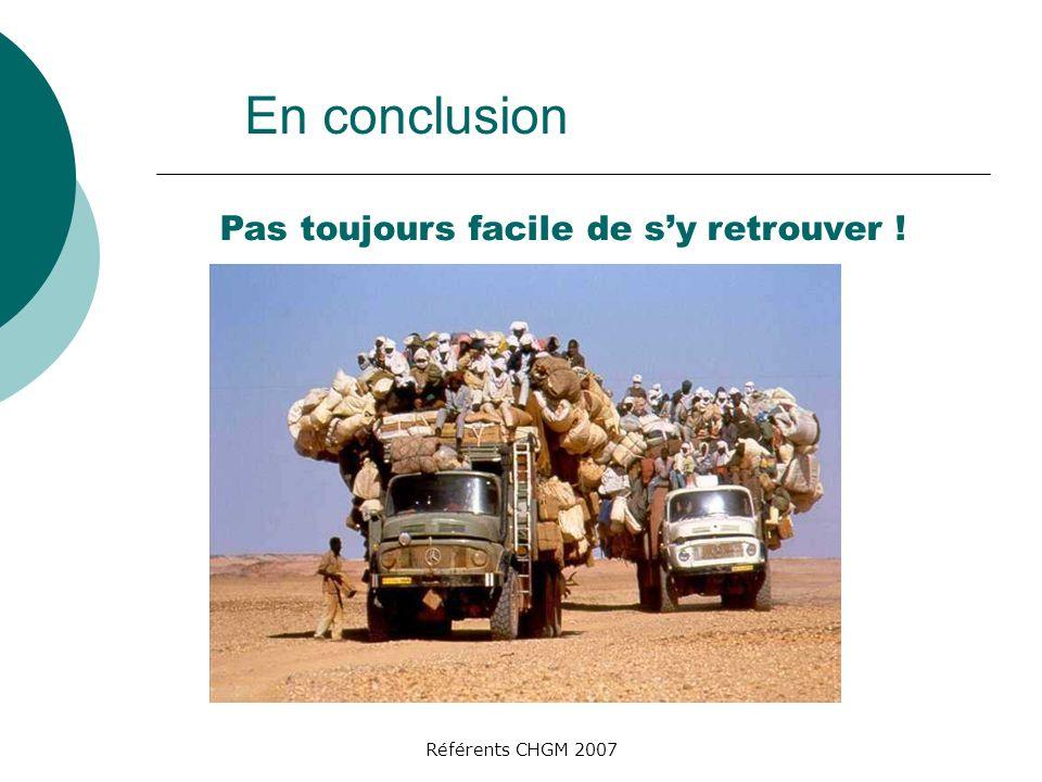 Référents CHGM 2007 En conclusion Pas toujours facile de sy retrouver !