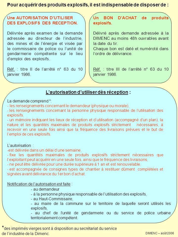 DIMENC – août 2006 Pour acquérir des produits explosifs, il est indispensable de disposer de : Lautorisation dutiliser dès réception : * des imprimés