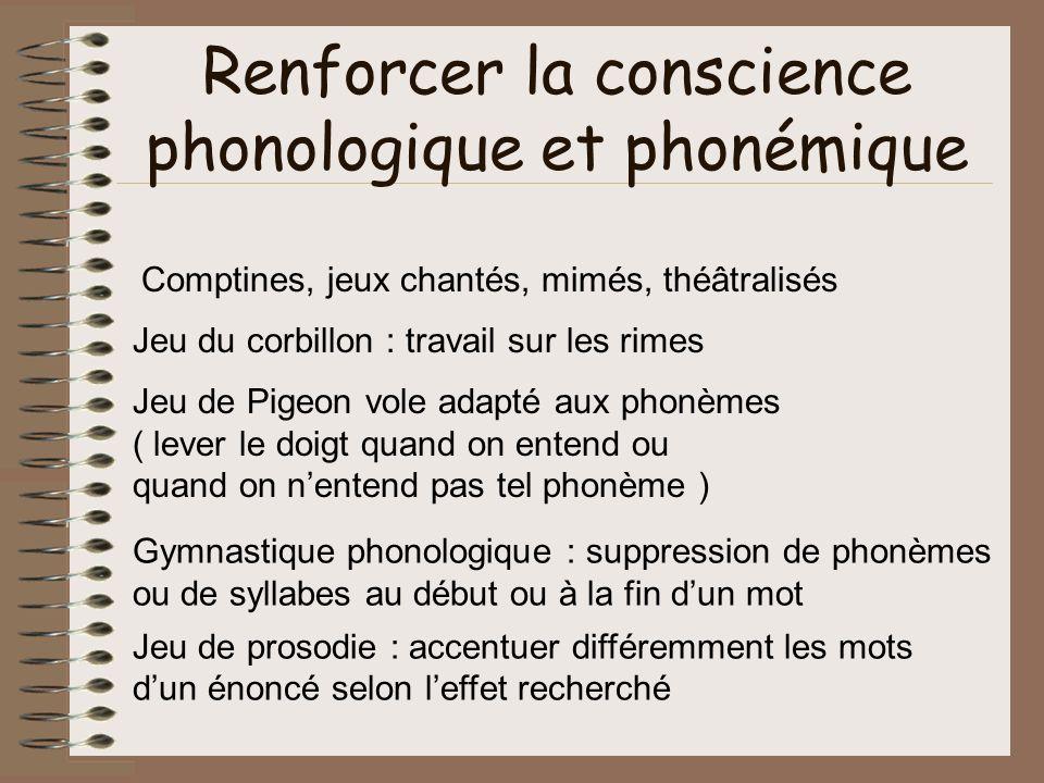Renforcer la conscience phonologique et phonémique Comptines, jeux chantés, mimés, théâtralisés Jeu du corbillon : travail sur les rimes Jeu de Pigeon