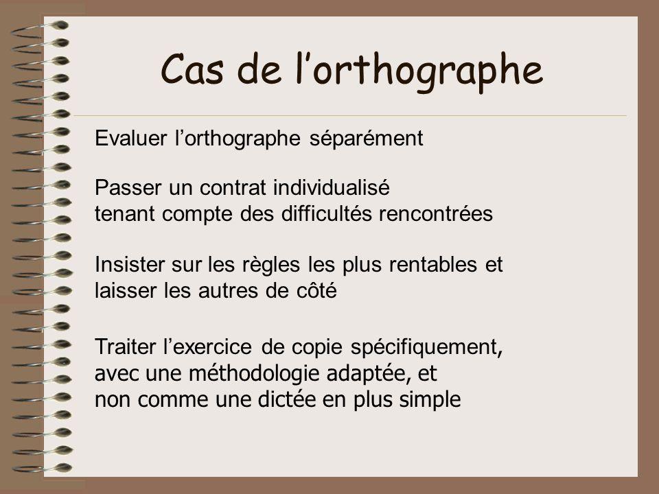 Cas de lorthographe Evaluer lorthographe séparément Passer un contrat individualisé tenant compte des difficultés rencontrées Insister sur les règles
