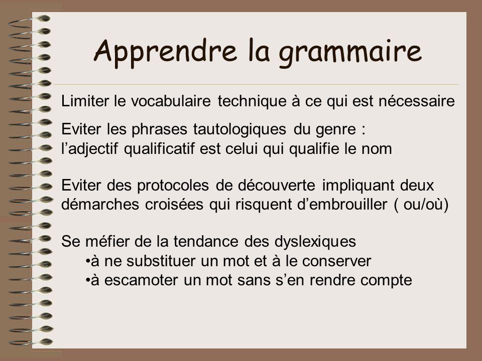 Apprendre la grammaire Limiter le vocabulaire technique à ce qui est nécessaire Eviter les phrases tautologiques du genre : ladjectif qualificatif est