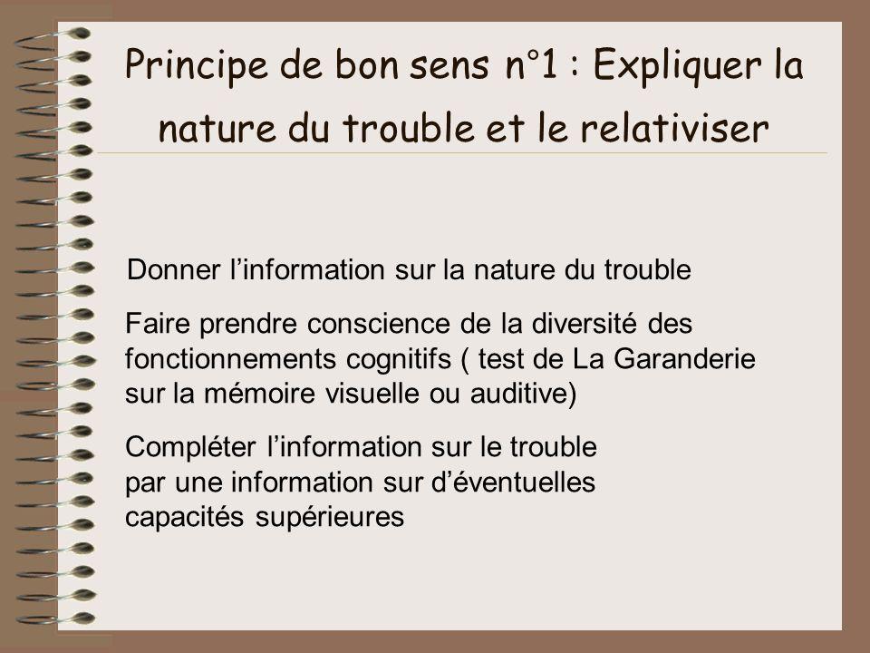 Principe de bon sens n°1 : Expliquer la nature du trouble et le relativiser Donner linformation sur la nature du trouble Faire prendre conscience de l