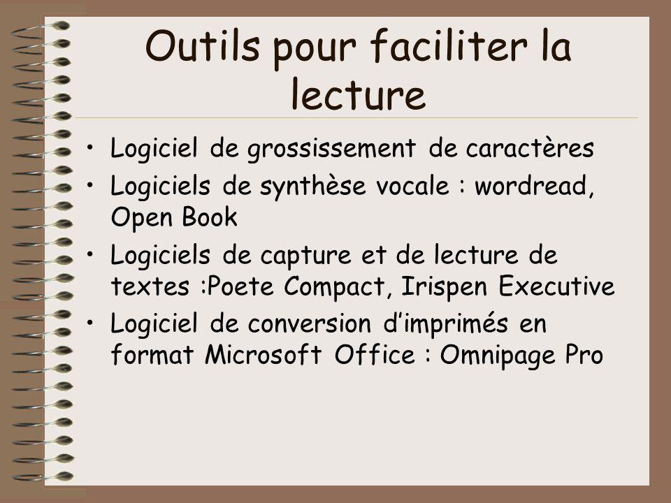 Outils pour faciliter la lecture Logiciel de grossissement de caractères Logiciels de synthèse vocale : wordread, Open Book Logiciels de capture et de