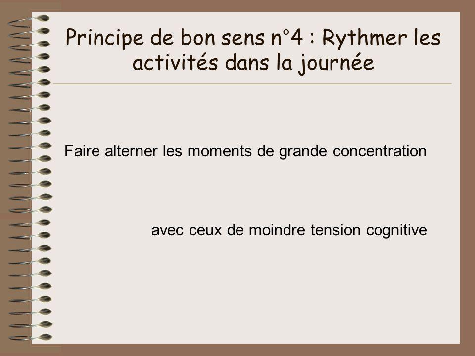 Principe de bon sens n°4 : Rythmer les activités dans la journée Faire alterner les moments de grande concentration avec ceux de moindre tension cogni
