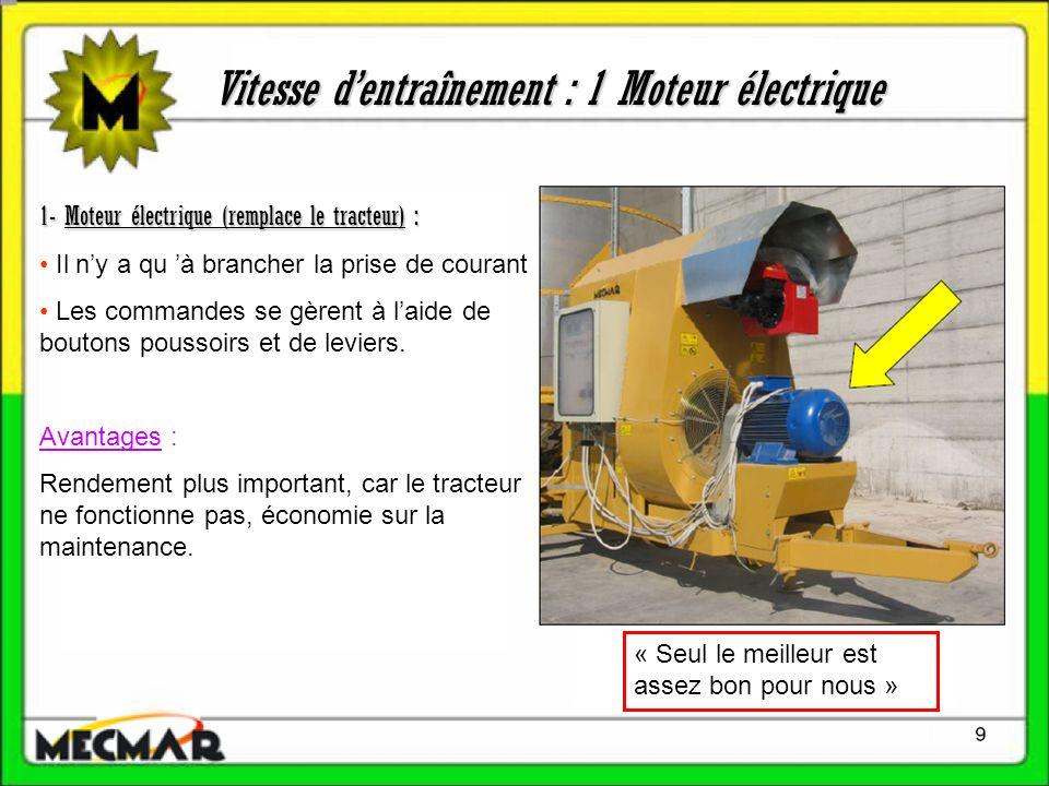 Vitesse dentraînement : 1 Moteur électrique 1- Moteur électrique (remplace le tracteur) : Il ny a qu à brancher la prise de courant Les commandes se g