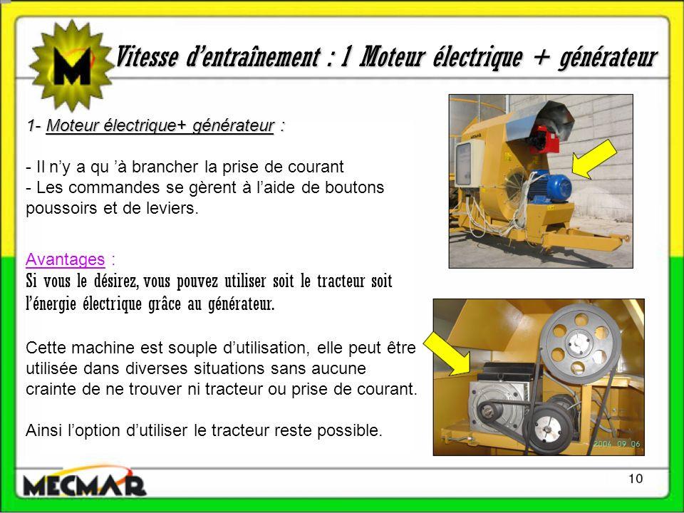 Vitesse dentraînement : 1 Moteur électrique + générateur 1- Moteur électrique+ générateur : - Il ny a qu à brancher la prise de courant - Les commandes se gèrent à laide de boutons poussoirs et de leviers.