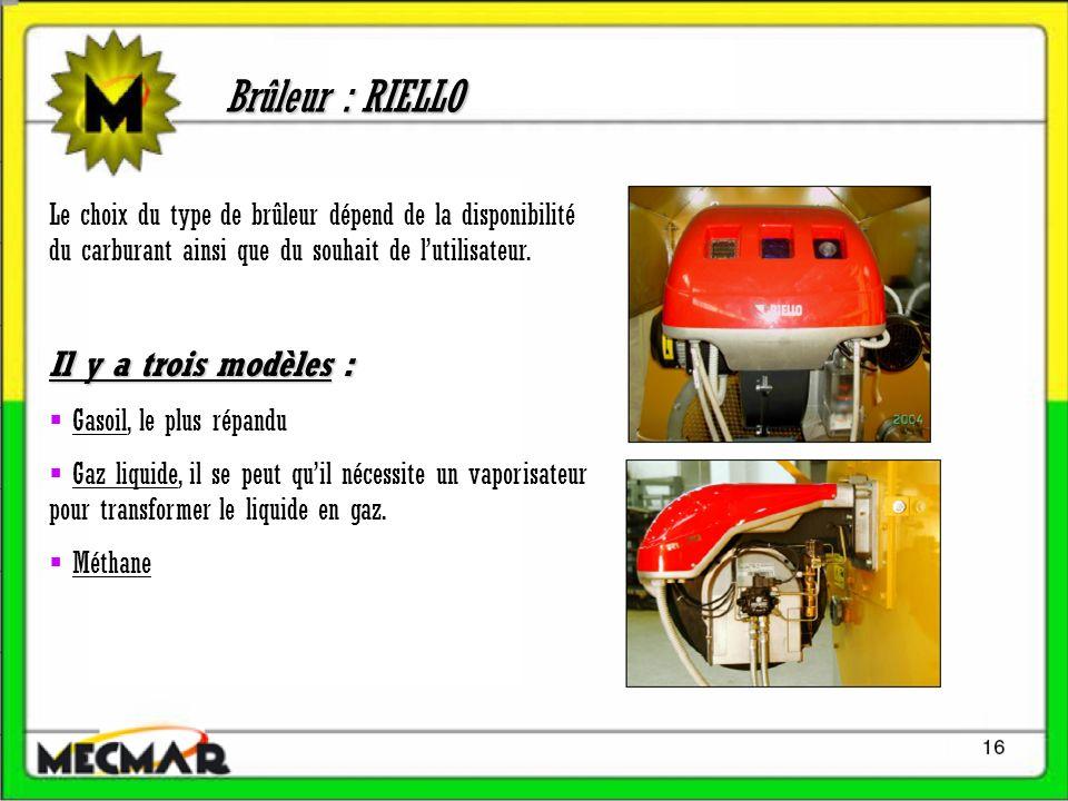 Brûleur : RIELLO Le choix du type de brûleur dépend de la disponibilité du carburant ainsi que du souhait de lutilisateur.