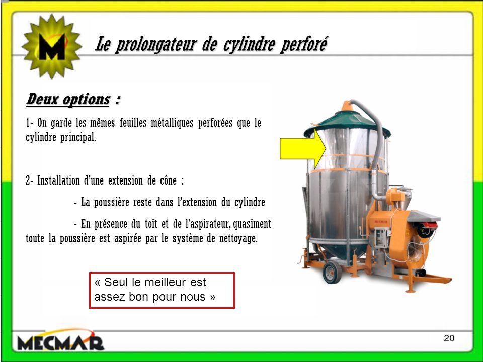 Le prolongateur de cylindre perforé Deux options : 1- On garde les mêmes feuilles métalliques perforées que le cylindre principal. 2- Installation dun