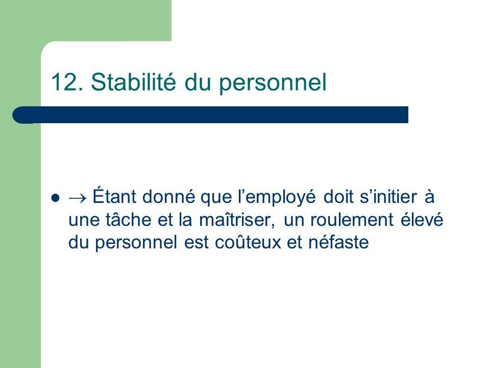 12. Stabilité du personnel Étant donné que lemployé doit sinitier à une tâche et la maîtriser, un roulement élevé du personnel est coûteux et néfaste